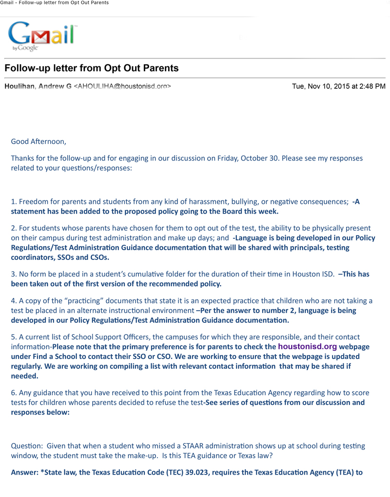 Houston Isd Opt Out Letter To Parents